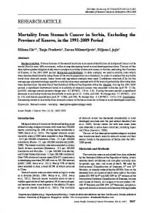 RESEARCH ARTICLE Mortality from Stomach Cancer in Serbia ...