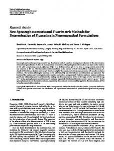 Research Article New Spectrophotometric and ... - BioMedSearch