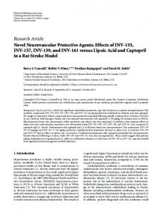 Research Article Novel Neurovascular Protective ... - ScienceOpen