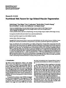 Research Article Nutritional Risk Factors for Age-Related Macular ...