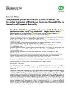 Research Article Occupational Exposure to Pesticides ...