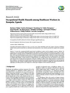 Research Article Occupational Health Hazards