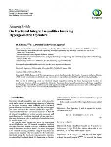 Research Article On Fractional Integral Inequalities