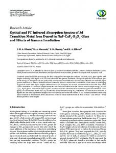 Research Article Optical and FT Infrared Absorption