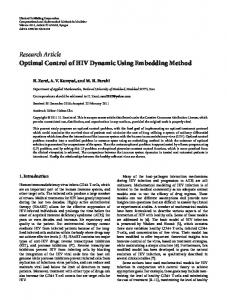 Research Article Optimal Control of HIV Dynamic