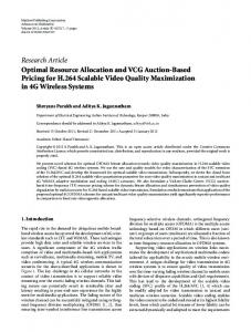 Research Article Optimal Resource Allocation and VCG Auction ...