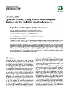 Research Article Optimized Extreme Learning Machine for