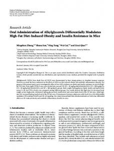 Research Article Oral Administration of Alkylglycerols ... - BioMedSearch