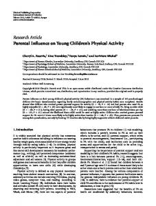 Research Article Parental Influence on Young ... - ScienceOpen