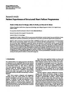 Research Article Patient Experiences of Structured ... - BioMedSearch