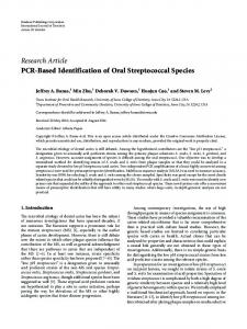 Research Article PCR-Based Identification of Oral Streptococcal Species
