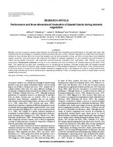 RESEARCH ARTICLE Performance and three-dimensional kinematics ...