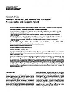 Research Article Perinatal Palliative Care: Barriers ... - BioMedSearch
