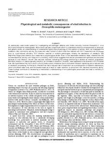 RESEARCH ARTICLE Physiological and metabolic consequences of ...