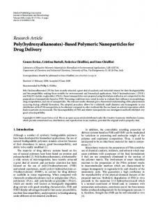 Research Article Poly(hydroxyalkanoates)-Based ... - ScienceOpen