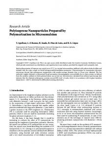 Research Article Polyisoprene Nanoparticles