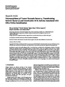 Research Article Polymorphisms of Tumor Necrosis Factor