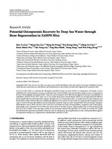 Research Article Potential Osteoporosis Recovery by ... - BioMedSearch