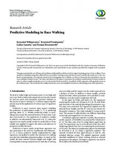 Research Article Predictive Modeling in Race Walking