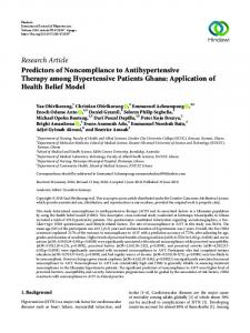 Research Article Predictors of Noncompliance to ... - Hindawi