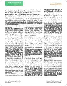 RESEARCH ARTICLE Preliminary Phytochemical ...