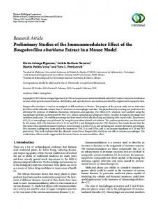Research Article Preliminary Studies of the