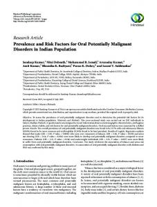 Research Article Prevalence and Risk Factors for Oral ...