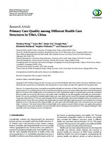Research Article Primary Care Quality among Different Health Care ...