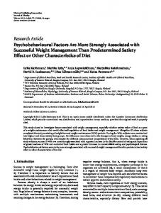 Research Article Psychobehavioural Factors Are ... - BioMedSearch