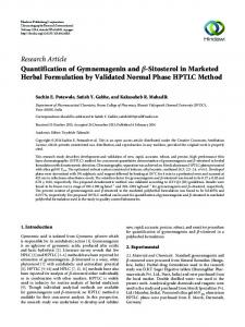 Research Article Quantification of Gymnemagenin and ... - Hindawi