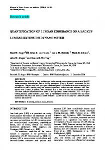 Research article QUANTIFICATION OF LUMBAR ENDURANCE ON A ...