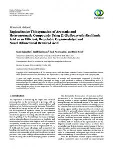 Research Article Regioselective Thiocyanation of ...