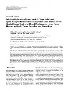 Research Article Relationship between Biomechanical Characteristics ...