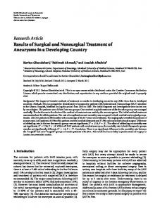 Research Article Results of Surgical and Nonsurgical ... - ScienceOpen