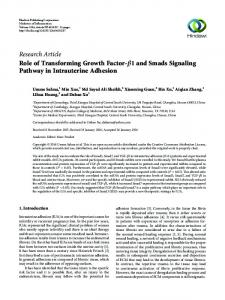 Research Article Role of Transforming Growth Factor-    1 ... - Hindawi