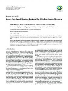 Research Article Secure Ant-Based Routing Protocol for ... - Hindawi