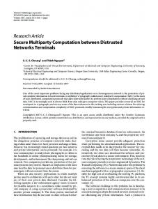 Research Article Secure Multiparty Computation between Distrusted ...