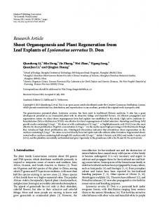 Research Article Shoot Organogenesis and Plant ... - ScienceOpen
