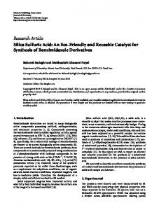 Research Article Silica Sulfuric Acid: An Eco-Friendly and Reusable