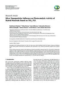 Research Article Silver Nanoparticles Influence on
