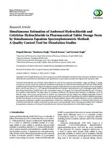 Research Article Simultaneous Estimation of