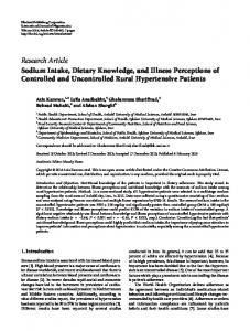 Research Article Sodium Intake, Dietary Knowledge ... - BioMedSearch