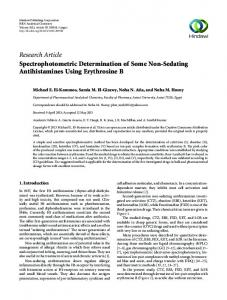 Research Article Spectrophotometric Determination of ...