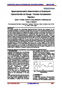Research Article Spectrophotometric Determination of Oxybutynin