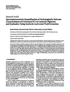 Research Article Spectrophotometric Quantification of ...