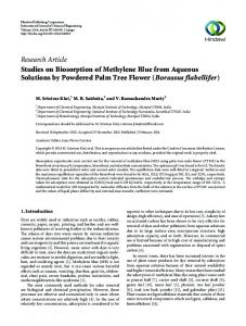 Research Article Studies on Biosorption of Methylene