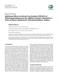 Research Article Substituent Effects on Solvent-Free