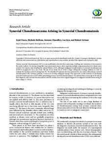 Research Article Synovial Chondrosarcoma Arising in ...