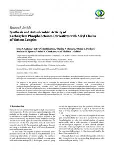 Research Article Synthesis and Antimicrobial Activity