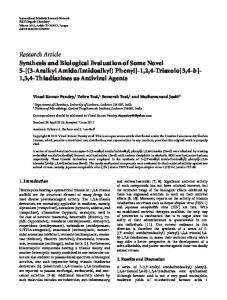 Research Article Synthesis and Biological Evaluation of Some Novel 5